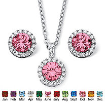 SETA JEWELRY 4.30 TCW Round Birthstone and Cubic Zirconia Halo Set in Silvertone