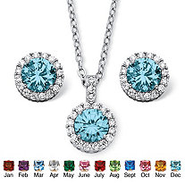 4.30 TCW Round Birthstone and Cubic Zirconia Halo Set in Silvertone