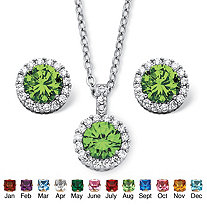 SETA JEWELRY 4.30 TCW Round Birthstone Cubic Zirconia Halo Necklace and Earrings Set in Silvertone