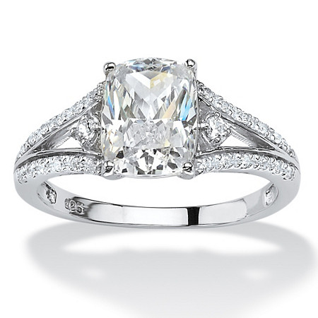 2.56 TCW Cushion-Cut Cubic Zirconia Engagement Ring in Platinum over Sterling Silver at PalmBeach Jewelry