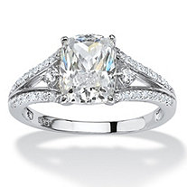 2.56 TCW Cushion-Cut Cubic Zirconia Engagement Ring in Platinum over Sterling Silver