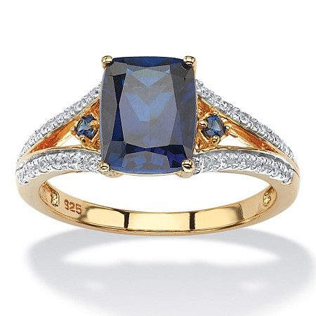 2.01 TCW Cushion-Cut Created Blue Sapphire and CZ Ring in 18k Yellow Gold over Sterling Silver at PalmBeach Jewelry