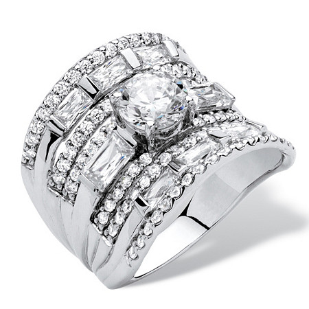 3.41 TCW Round Cubic Zirconia Concave Multi-Row Scoop Ring in Platinum over .925 Sterling Silver at PalmBeach Jewelry