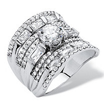 3.41 TCW Round Cubic Zirconia Concave Multi-Row Scoop Ring in Platinum over .925 Sterling Silver