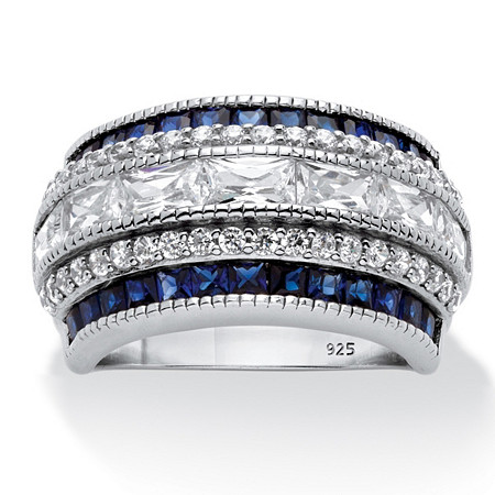 Emerald-Cut Cubic Zirconia and Simulated Blue Sapphire Ring 6.48 TCW in Platinum over Sterling Silver at PalmBeach Jewelry