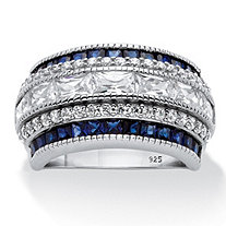 Emerald-Cut Cubic Zirconia and Simulated Blue Sapphire Ring 6.48 TCW in Platinum over Sterling Silver