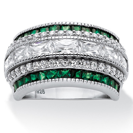 Emerald-Cut Cubic Zirconia Multi-Row Art Deco-Inspired Cocktail Ring 3.31 TCW in Platinum over Sterling Silver at PalmBeach Jewelry