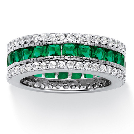 10.83 TCW Princess-Cut Simulated Emerald Eternity Ring in Platinum over .925 Sterling Silver at PalmBeach Jewelry