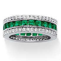 SETA JEWELRY 10.83 TCW Princess-Cut Simulated Emerald Eternity Ring in Platinum over .925 Sterling Silver