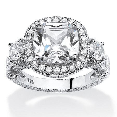 4.28 TCW Cushion-Cut Cubic Zirconia Vintage-Inspired Halo Ring in Platinum Over .925 Sterling Silver at PalmBeach Jewelry