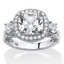 4.28 TCW Cushion-Cut Cubic Zirconia Vintage-Inspired Halo Ring in Platinum Over .925 Sterling Silver