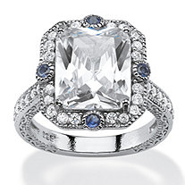 7.71 TCW Emerald-Cut Cubic Zirconia and Blue Sapphire Accent Vintage-Inspired Halo Ring in Platinum over Sterling Silver