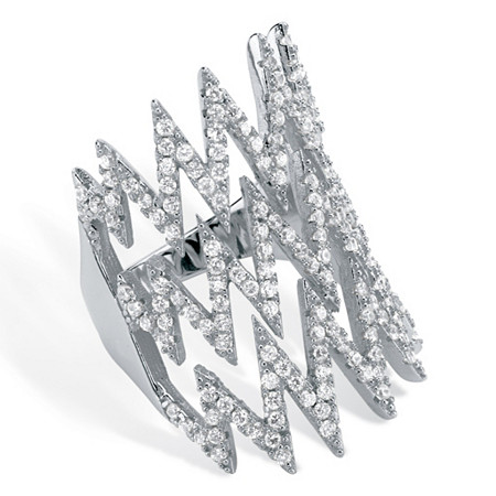 1.44 TCW Micro-Pave Cubic Zirconia Zig Zag Ring in .925 Sterling Silver at PalmBeach Jewelry