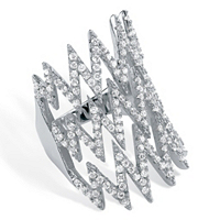 Micro-Pave Cubic Zirconia Zig Zag Ring In Sterling Silver ONLY $16.99