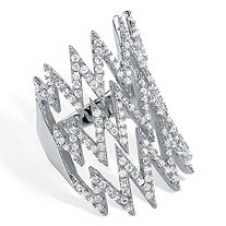 1.44 TCW Micro-Pave Cubic Zirconia Zig Zag Ring in .925 Sterling Silver