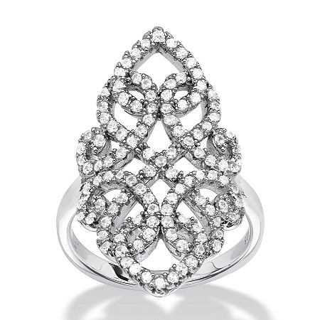 1.08 TCW Micro-Pave Cubic Zirconia Vintage-Style Scroll Cocktail Ring in Sterling Silver at PalmBeach Jewelry