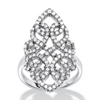 Micro-Pave Cubic Zirconia Vintage-Style Scroll Cocktail Ring In Sterling Silver ONLY $12.99