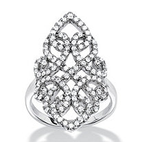 1.08 TCW Micro-Pave Cubic Zirconia Vintage-Style Scroll Cocktail Ring in Sterling Silver