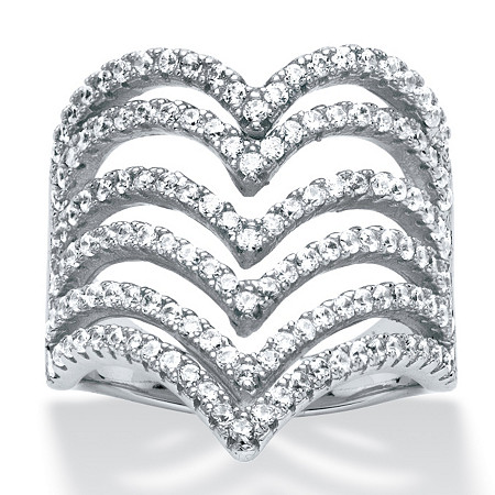 1.26 TCW Round Micro-Pave Cubic Zirconia Multi-Row Chevron Cocktail Ring in Sterling Silver at PalmBeach Jewelry