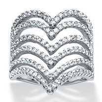 1.26 TCW Round Micro-Pave Cubic Zirconia Multi-Row Chevron Cocktail Ring in Sterling Silver