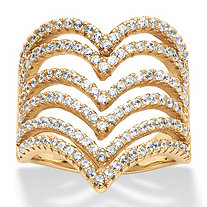 1.26 TCW Round Cubic Zirconia Multi-Row Chevron Ring in 14k Gold over Sterling Silver