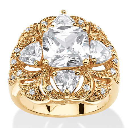 3.94 TCW Cushion-Cut Cubic Zirconia Clover Motif Cocktail Ring 18k Gold-Plated at PalmBeach Jewelry