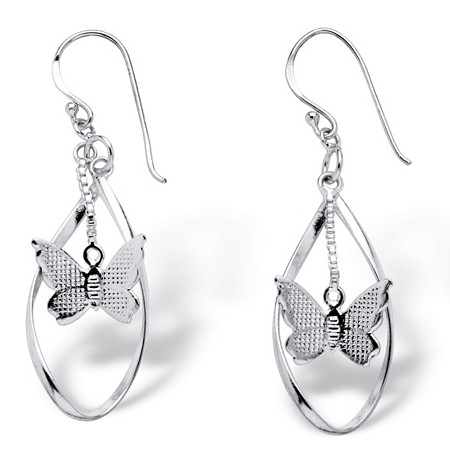Dangling Butterfly Twisted Loop Earrings in .925 Sterling Silver at PalmBeach Jewelry