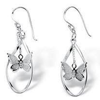 Dangling Butterfly Twisted Loop Earrings in .925 Sterling Silver