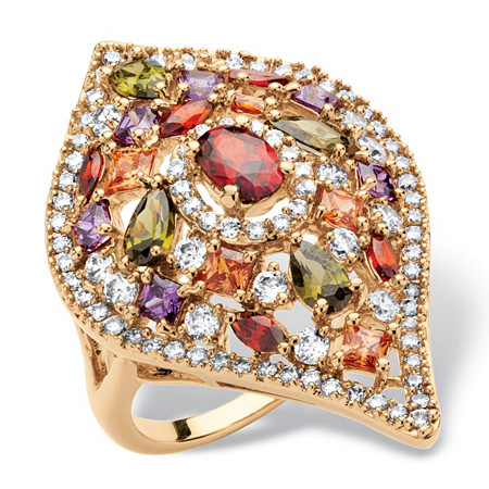 4 TCW Multicolor Cubic Zirconia Teardrop Cocktail Ring 18k Yellow Gold-Plated at PalmBeach Jewelry