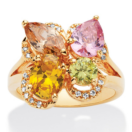 4.70 TCW Multicolor Cubic Zirconia Flower Motif Cluster Cocktail Ring 18k Yellow Gold-Plated at PalmBeach Jewelry