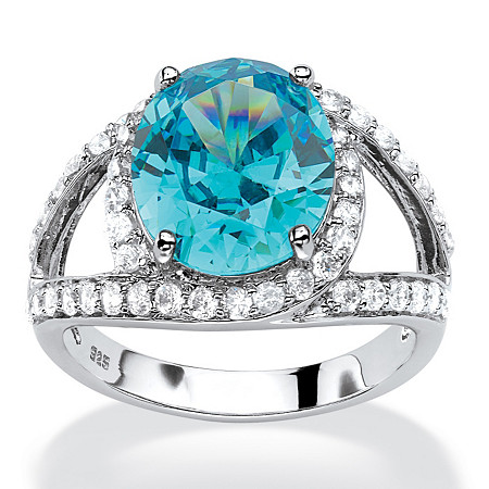 5.77 TCW Oval-Cut Blue Cubic Zirconia Halo Cocktail Ring in Platinum Over .925 Sterling Silver at PalmBeach Jewelry