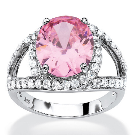 5.77 TCW Oval-Cut Simulated Pink Tourmaline CZ Halo Cocktail Ring in Platinum over Sterling Silver at PalmBeach Jewelry