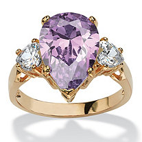6.75 TCW Lavender Pear-Shaped Cubic Zirconia Ring 14k Yellow Gold-Plated