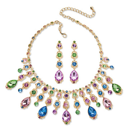 Multicolor Oval Crystal Necklace and Earrings Jewelry Set in Gold Tone at PalmBeach Jewelry
