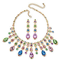 Multicolor Oval Crystal Necklace and Earrings Jewelry Set in Gold Tone
