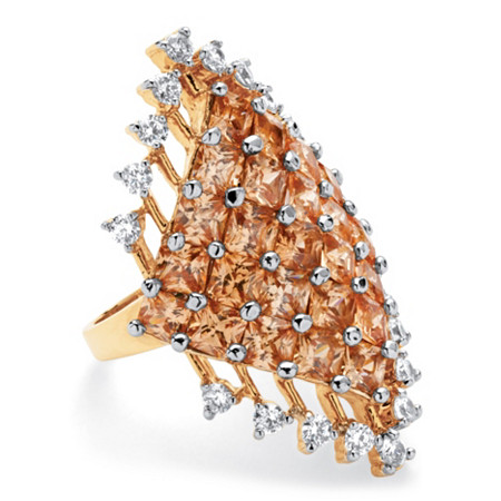 8.58 TCW Princess-Cut Champagne Cluster Cocktail Ring 14k Yellow Gold-Plated at PalmBeach Jewelry
