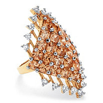 8.58 TCW Princess-Cut Champagne Cluster Cocktail Ring 14k Yellow Gold-Plated