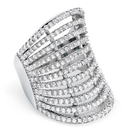 2.25 TCW Micro-Pave Cubic Zirconia Multi-Row Concave Cocktail Ring in .925 Sterling Silver at PalmBeach Jewelry