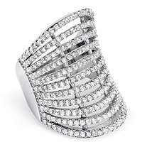 2.25 TCW Micro-Pave Cubic Zirconia Multi-Row Concave Cocktail Ring in .925 Sterling Silver
