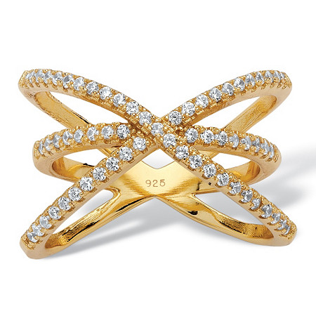 .57 TCW Micro-Pave Cubic Zirconia Open Loop Crossover Ring in 14k Yellow Gold over Sterling Silver at PalmBeach Jewelry