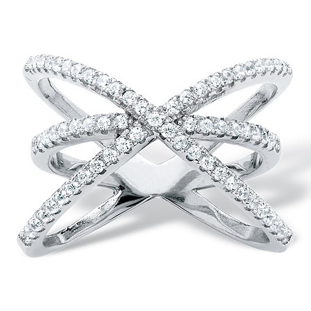 .57 TCW Micro-Pave Cubic Zirconia Crossover Cocktail Ring in .925 Sterling Silver at PalmBeach Jewelry
