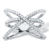 .57 TCW Micro-Pave Cubic Zirconia Crossover Cocktail Ring in .925 Sterling Silver