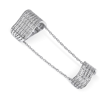 1.25 TCW Pave Cubic Zirconia Multi-Row Double Knuckle Ring in .925 Sterling Silver at PalmBeach Jewelry