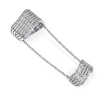 1.25 TCW Pave Cubic Zirconia Multi-Row Double Knuckle Ring in .925 Sterling Silver