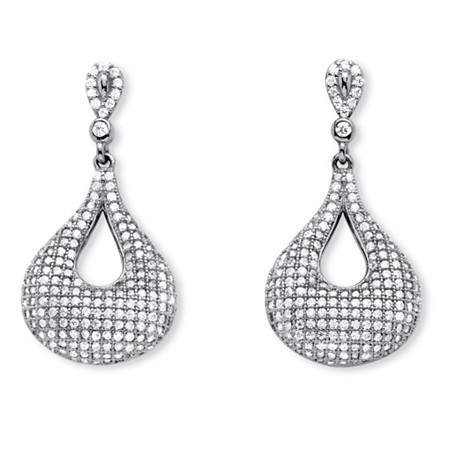 1.91 TCW Micro-Pave Cubic Zirconia Teardrop Loop Earrings in .925 Sterling Silver at PalmBeach Jewelry