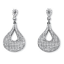 1.91 TCW Micro-Pave Cubic Zirconia Teardrop Loop Earrings in .925 Sterling Silver
