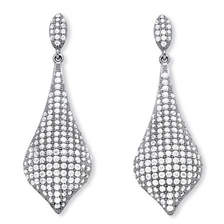 4.75 TCW Micro-Pave Cubic Zirconia Drop Earrings in .925 Sterling Silver at PalmBeach Jewelry