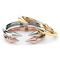 SETA JEWELRY Open Arrow 3-Piece Set of Cuff Bracelets in Gold Tone, Silvertone and Rose Gold Tone 8