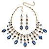 Related Item Oval-Cut Blue Crystal Necklace and Earrings Set in Gold Tone
