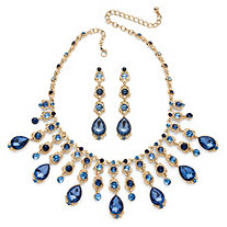 Oval-Cut Blue Crystal Necklace and Earrings Set in Gold Tone